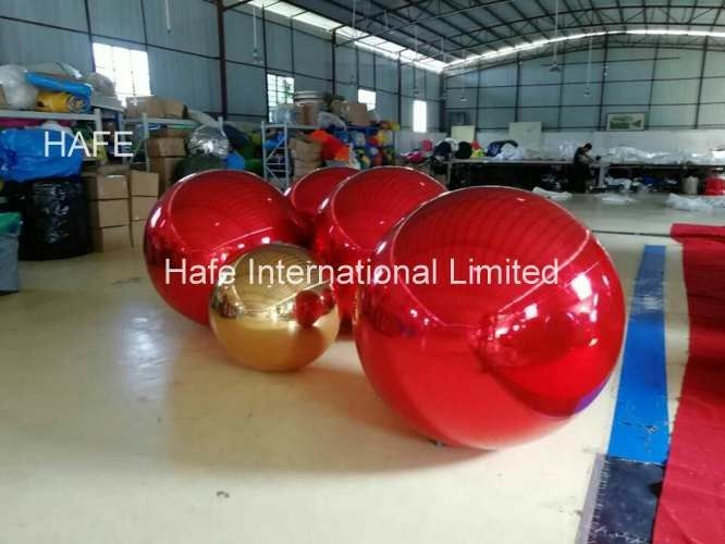Red Color 15ft Flying Helium Inflatable Mirror Balloon For Christmas Decoration